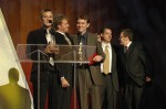The Infamous Stringdusters accepting at the 2007 IBMA Awards